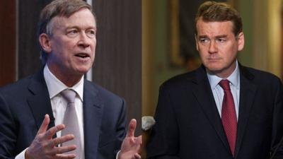Former Colorado Gov. John Hickenlooper (left) and U.S. Sen. Michael Bennet.