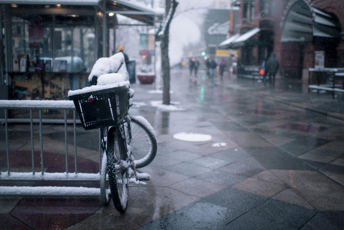 Bicycle in Snow in Denver