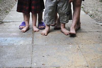 Barefoot children.