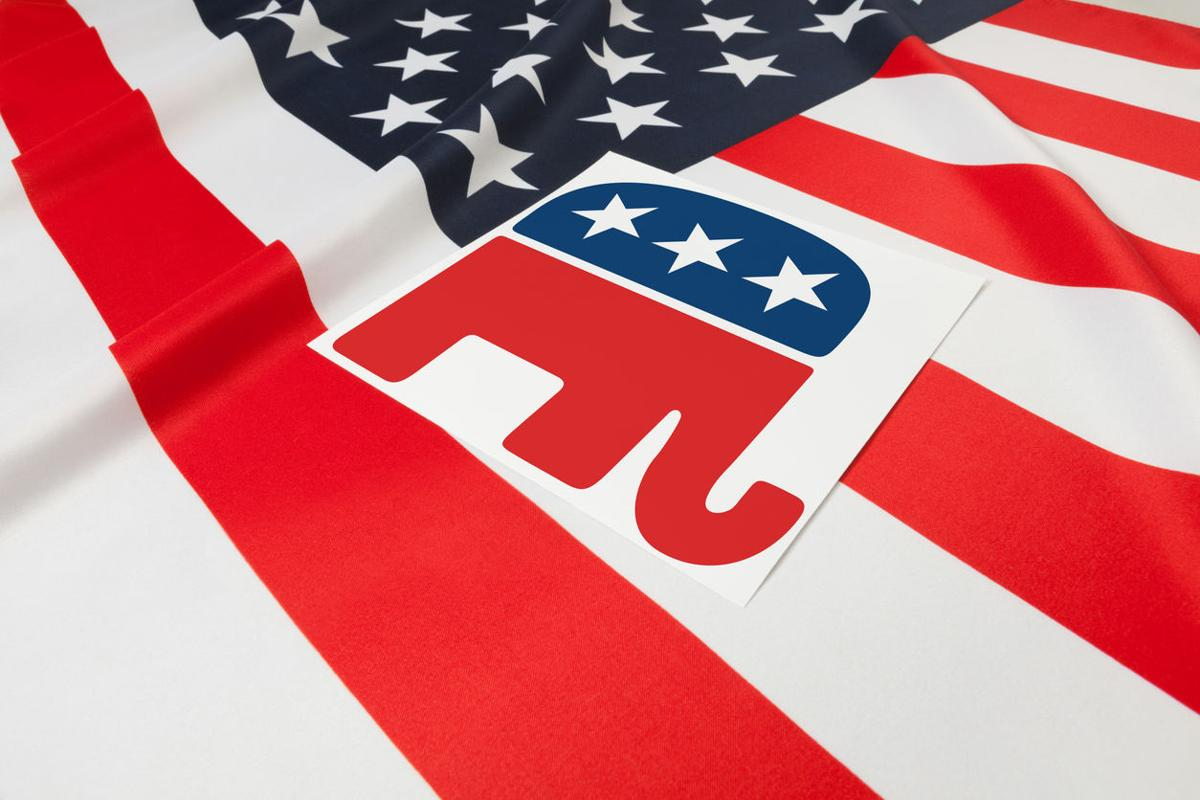 Series of USA ruffled flags with republican party symbol over it
