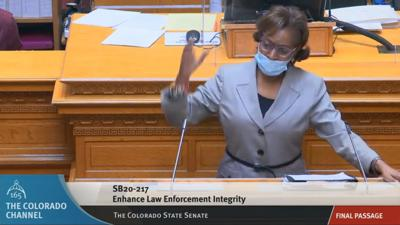 Sen. Rhonda Fields speaks during third reading of SB217