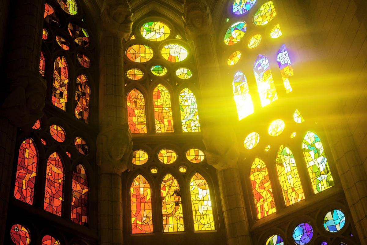 Sagrada Familia glass window in Barcelona