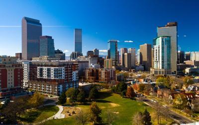 Denver Downtown Skyline Aerial w/ Park