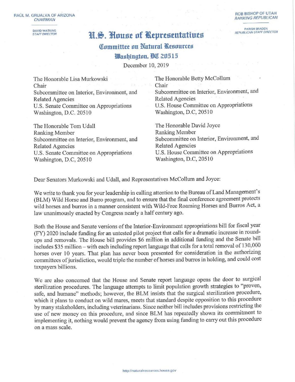 Bipartisan letter on wild horses