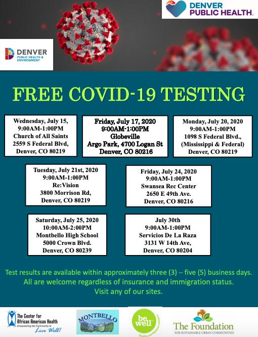 Covid testing locations in Denver