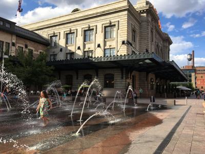 Fountains near the entrance of Denver Union Station along Wynkoop Street.