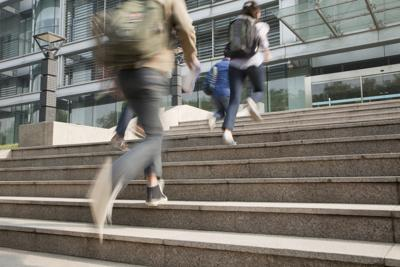 Chinese students running on campus