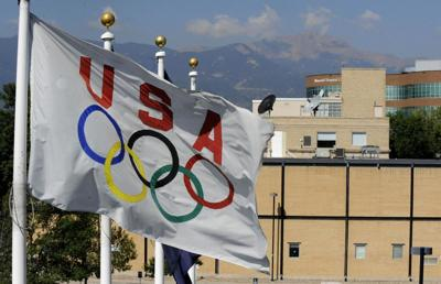 The Olympic flag over the Olympic Training Center in Colorado Springs.