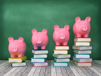 Piggy Bank with Books Chart on Chalkboard Background - 3D Rendering