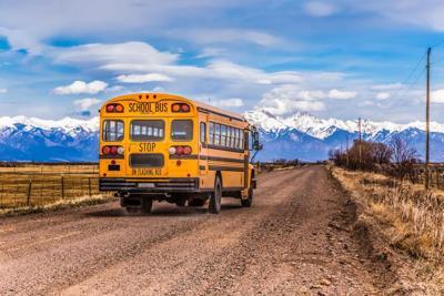 school bus mountains colorado rural