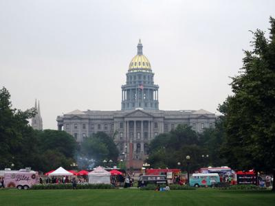 People dine at Food Truck at Civic Center