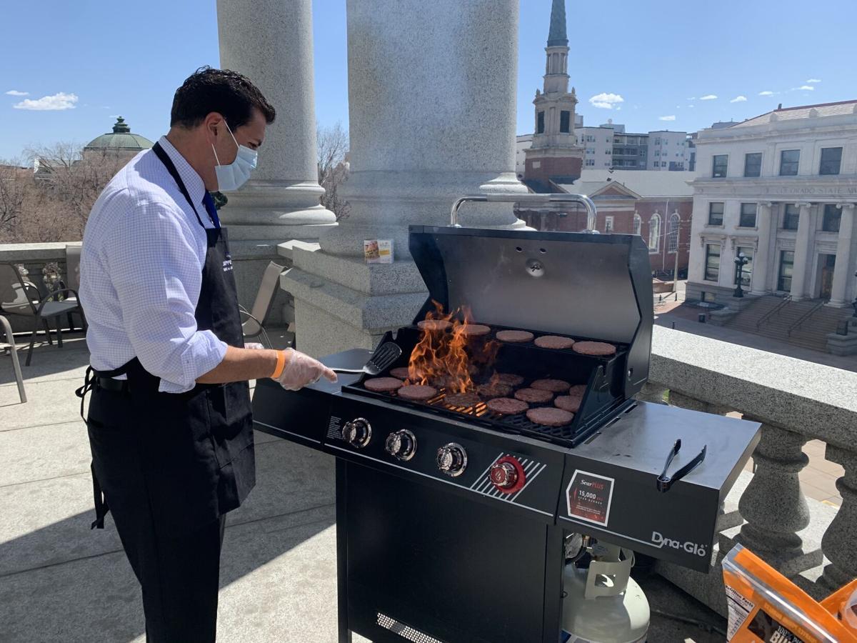 Senate President Leroy Garcia at the grill