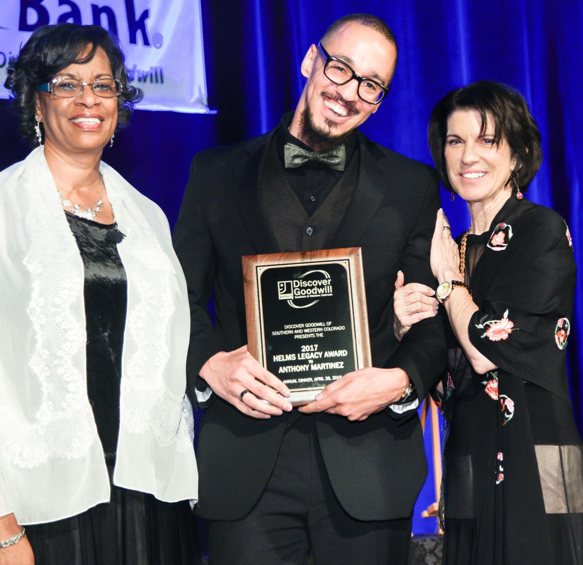 """""""Helms Legacy Honoree"""" Anthony Martinez with Board Chair Deborah Hendrix, left, and President/CEO Karla Grazier. 042618 Discover Goodwill photo"""