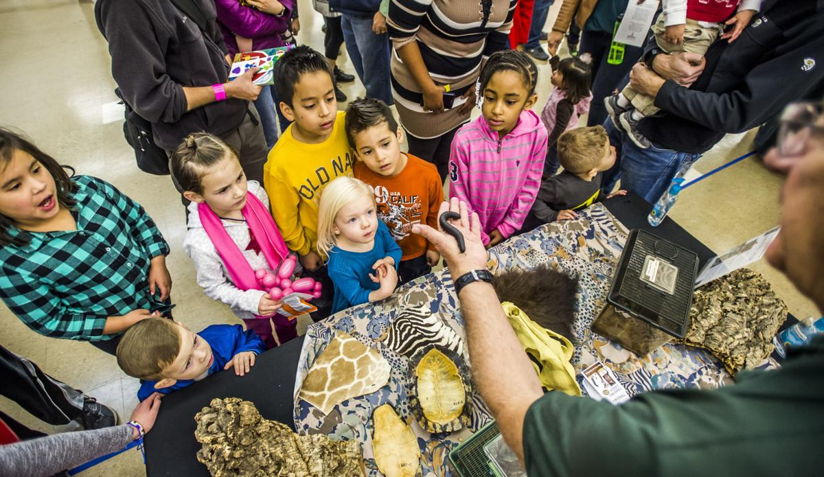 Children learn about a giant African millipede during the Noon Year's Eve party at the Colorado Springs Event Center on Saturday, December 31, 2016. Photo by Stacie Scott, The Gazette.jpg