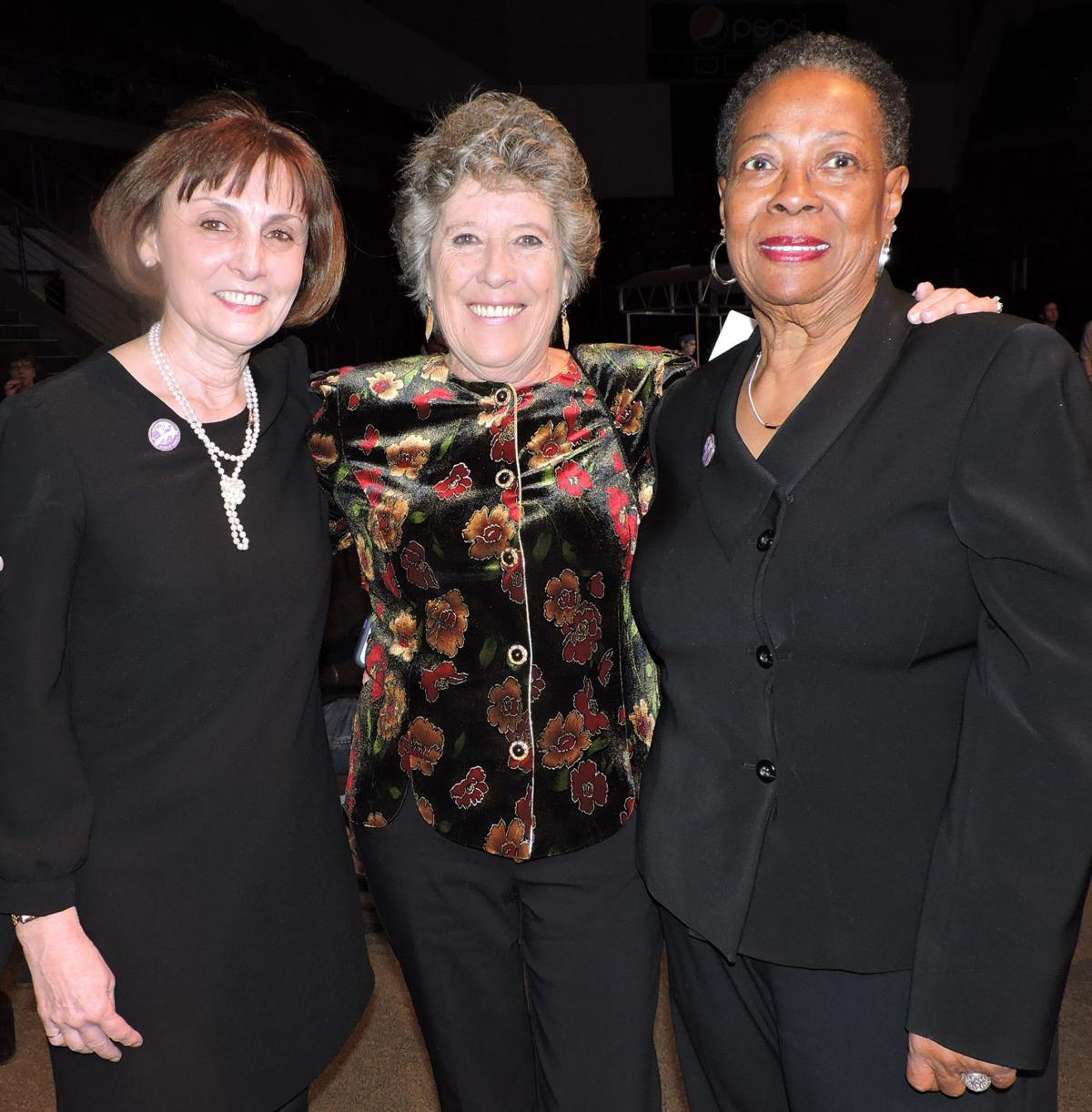 World Arena general manager Dot Lischick, left, with the two women who have been her assistants over the 20 years: Claudeen Brooks, right, 17 years, and her first assistant, Betty Workman.011818 Photo by Linda Navarro