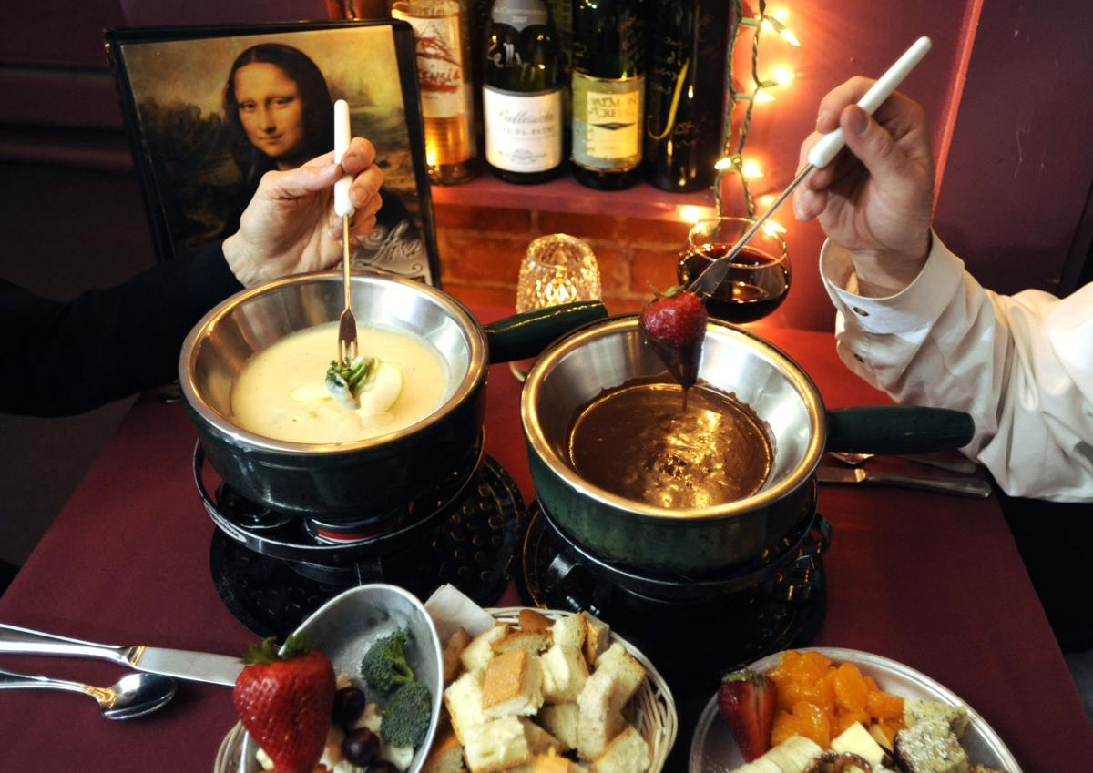 Mona Lisa Fondue Restaurant located at 733 Manitou Avenue, in Manitou Springs, serves a four course meal that includes both a cheese fondue and a chocolate fondue. Fresh vegetables,bread, fruits,cake and sweets are used for dipping. 4/13/10Photo by Carol Lawrence, The Gazette