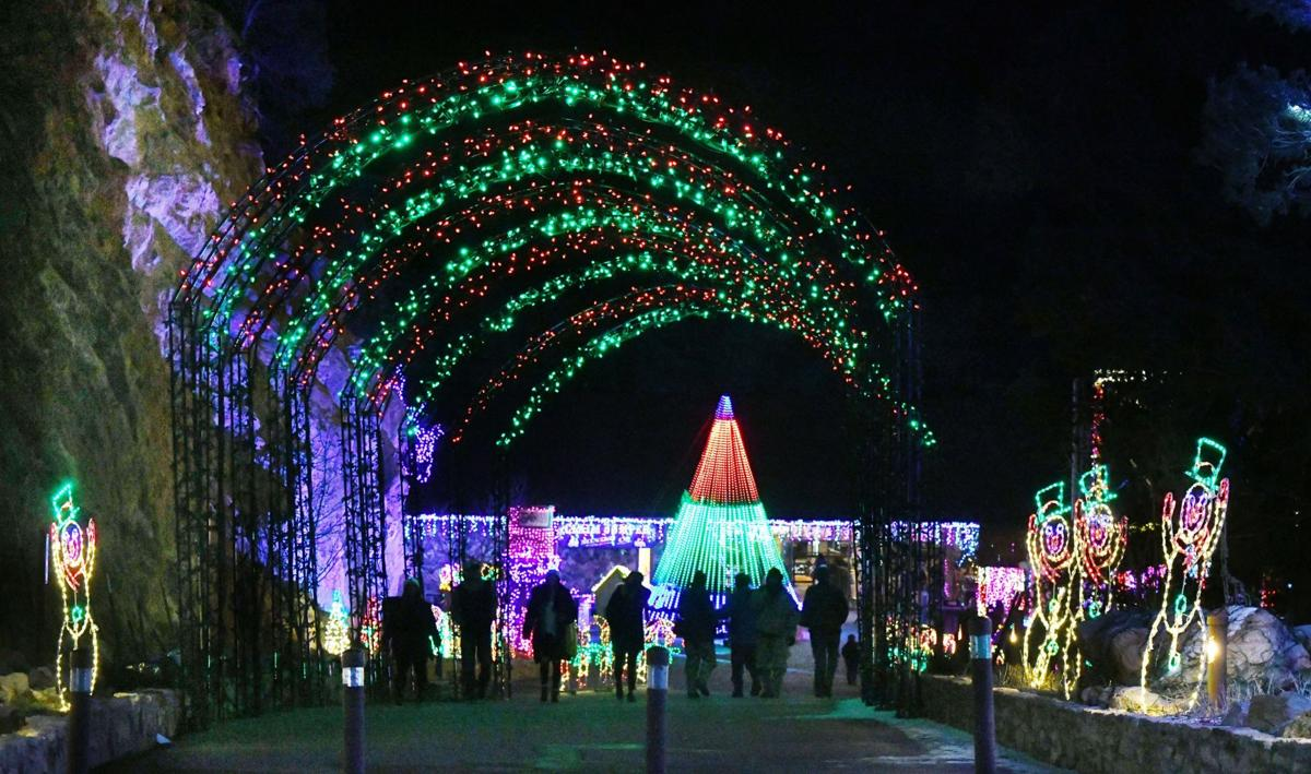 Cave of Winds is illuminated for the holidays