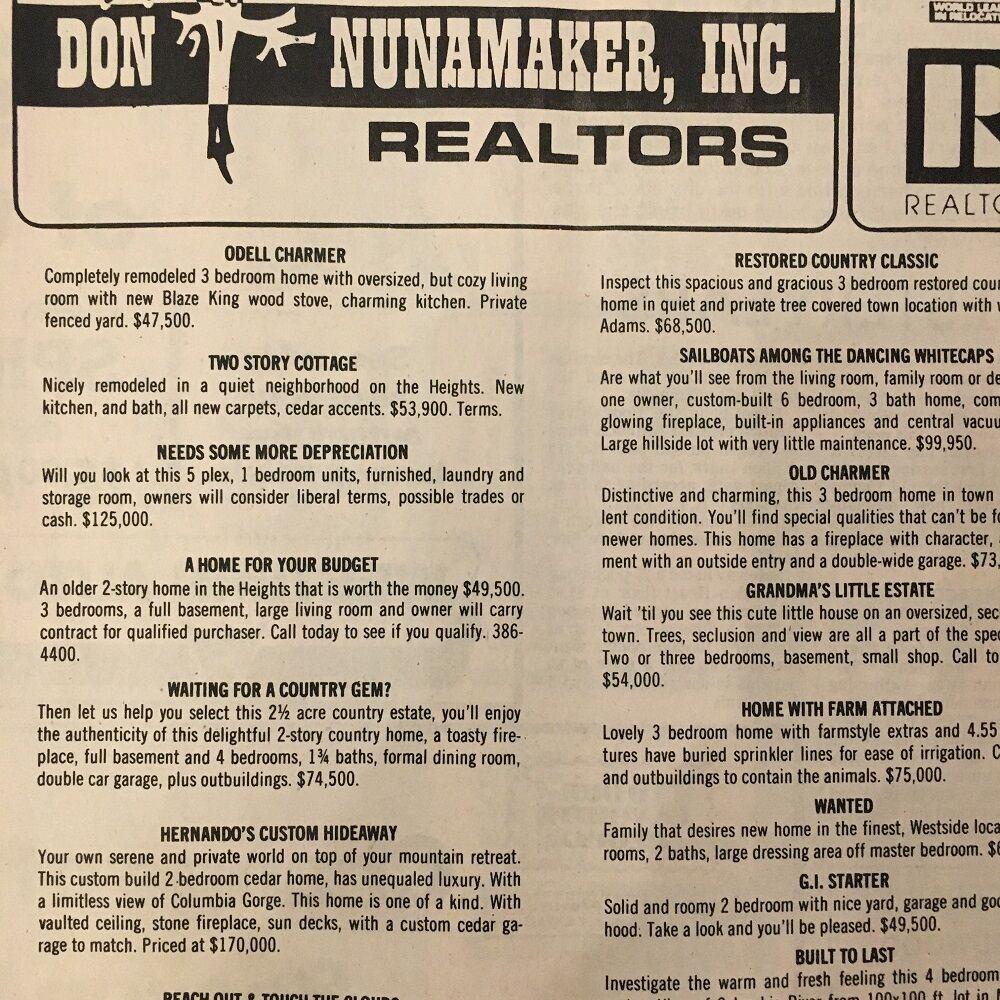 Don Numamaker Realtors 1981