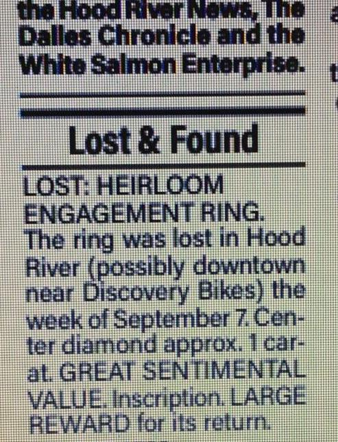Lost and found ad -- ring found!
