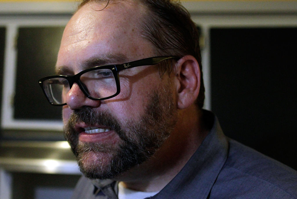 Second Ward councilman Michael Trapp reacts to Proposition 1 being passed
