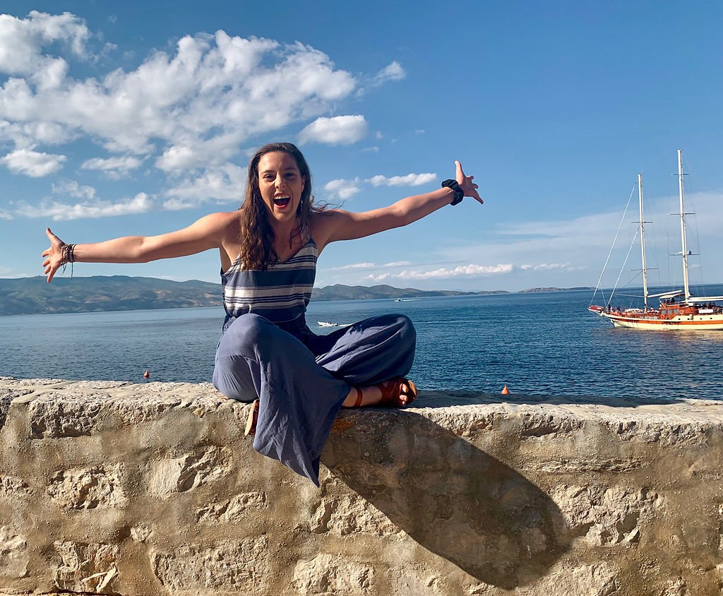 Marie McMullen near the water during her study abroad trip to Athens, Greece.