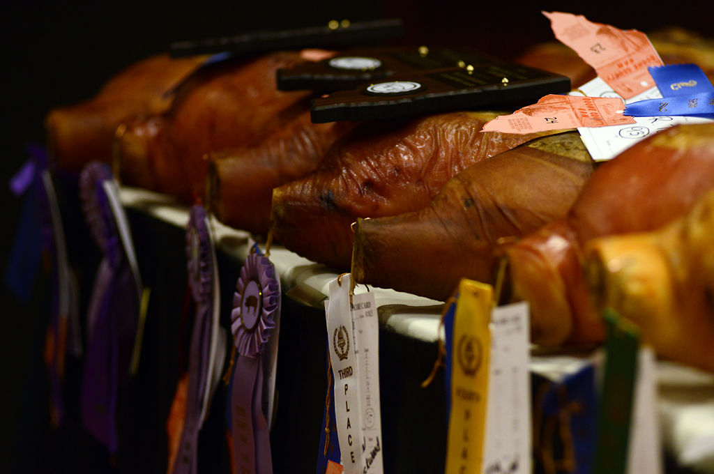 Awarded hams wait to be auctioned