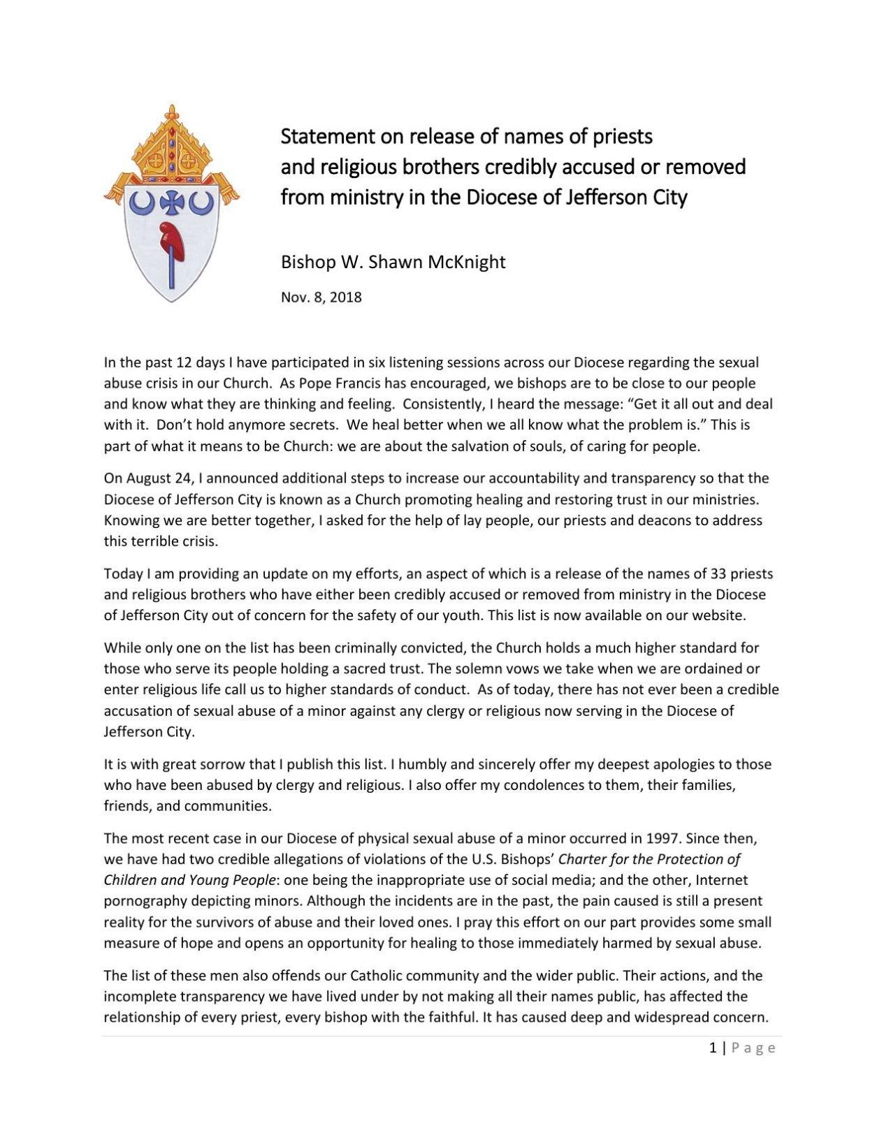 Bishop Shawn McKnight's statement