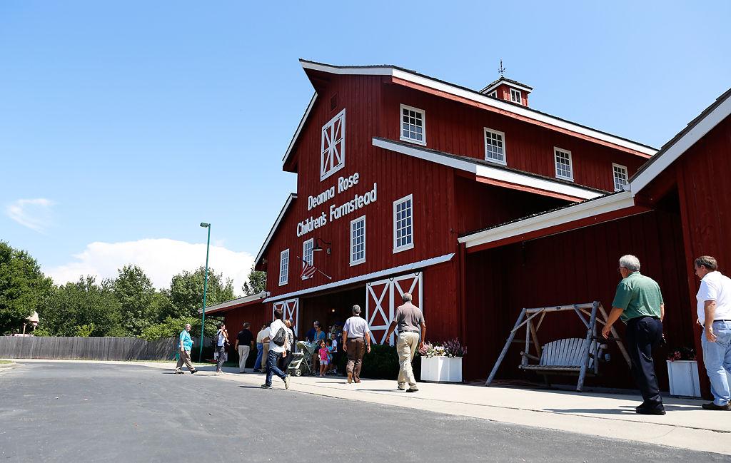 A tour group arrives at the Deanna Rose Children's farmstead