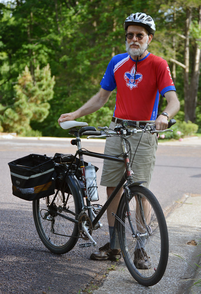 Don Harter stands with his commuter bike