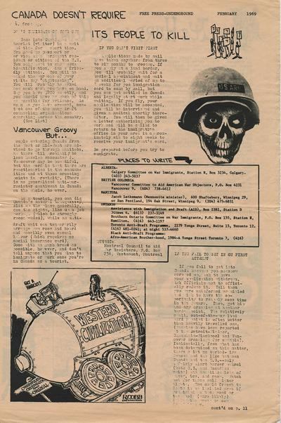 An inside page of the February 1969 issue of the Free Press Underground