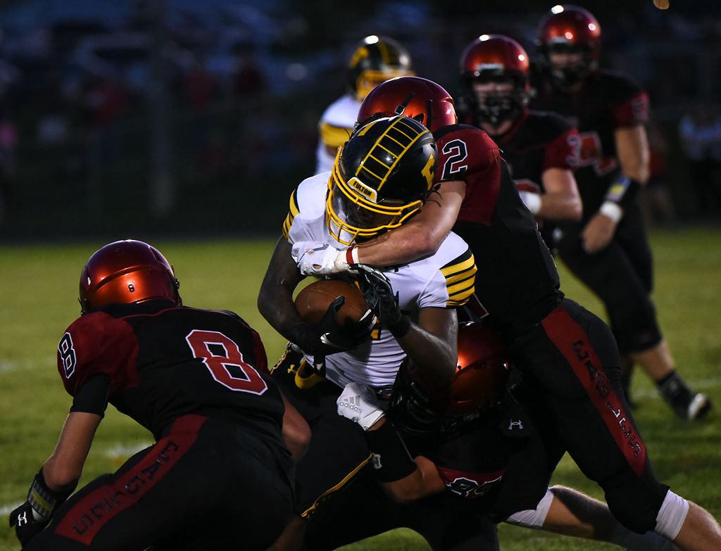 Southern Boone defensive back Tanner Goodrich tackles Fulton running back Zaylin McNeil