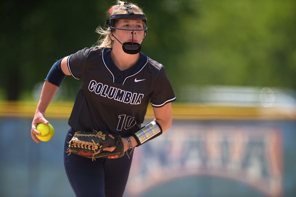 Columbia College pitcher Lexi Dickerson winds up (copy)