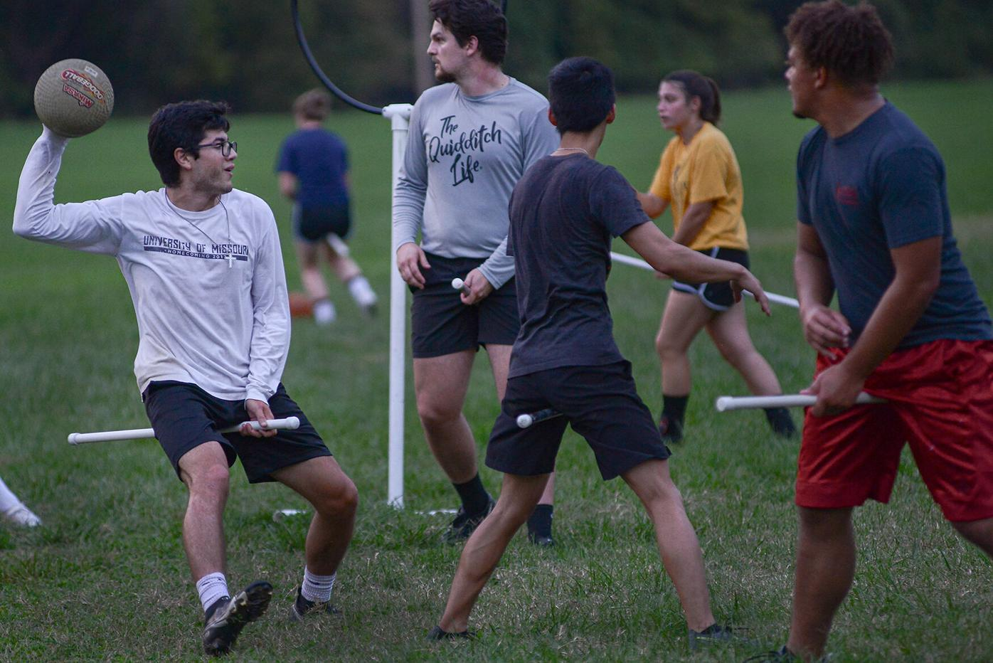 Vincent Reyes, the MU quidditch team captain, prepares to throw the ball during practice