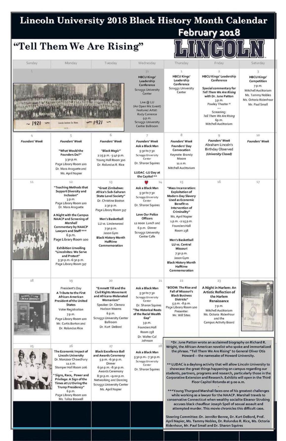 Lincoln University Black History Month Calendar