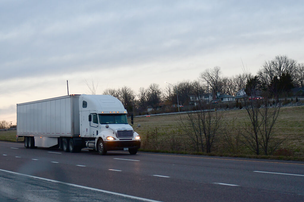 A semi truck drives east on I-70 towards St. Louis on Wednesday, Dec. 2, in Columbia.