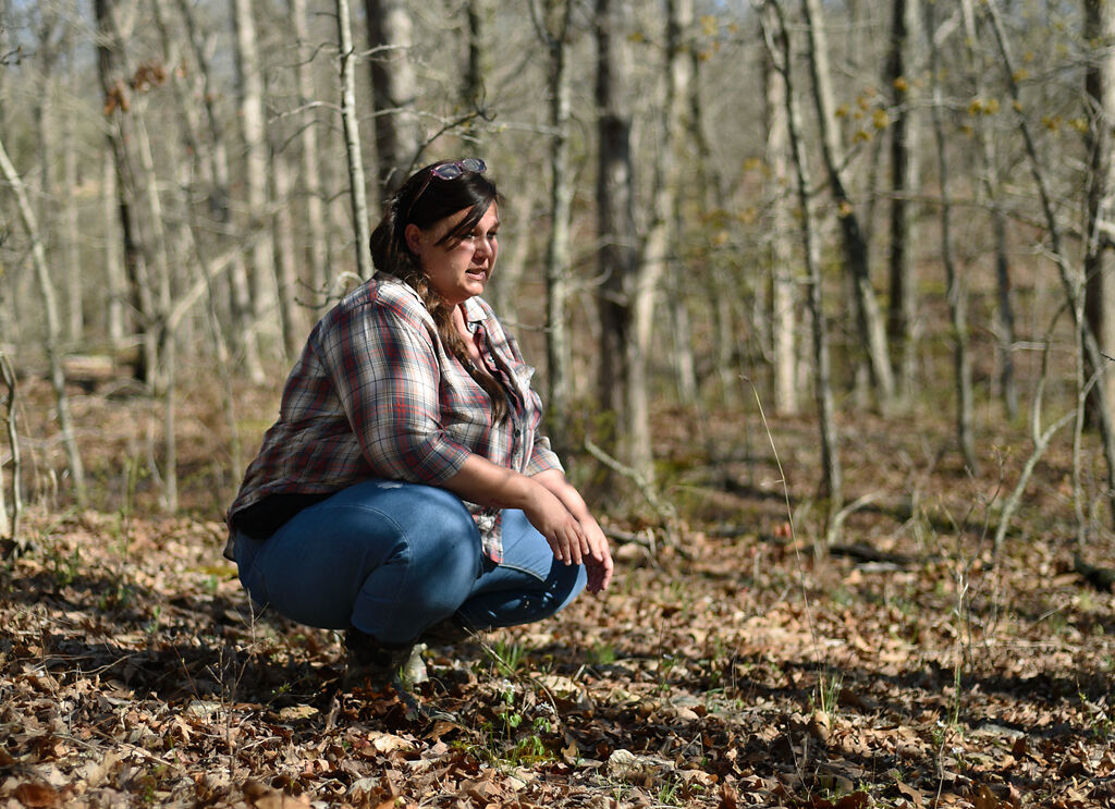Shannon Huff scours the ground for morel mushrooms