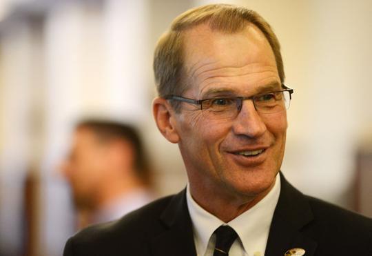 Jim Sterk converses with faculty members (copy)