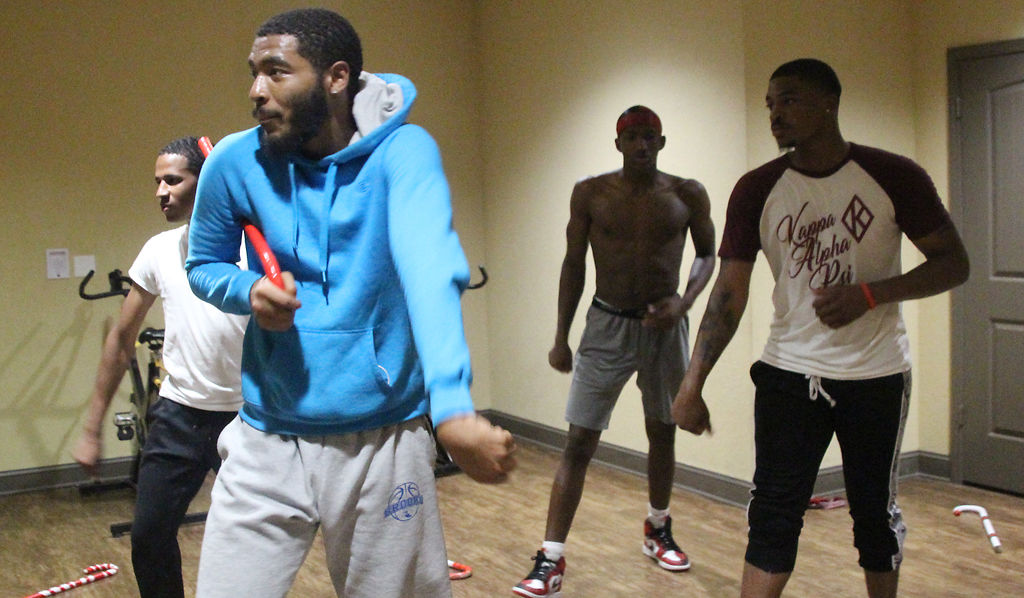 Shawn Gowder practices for the Homecoming step show