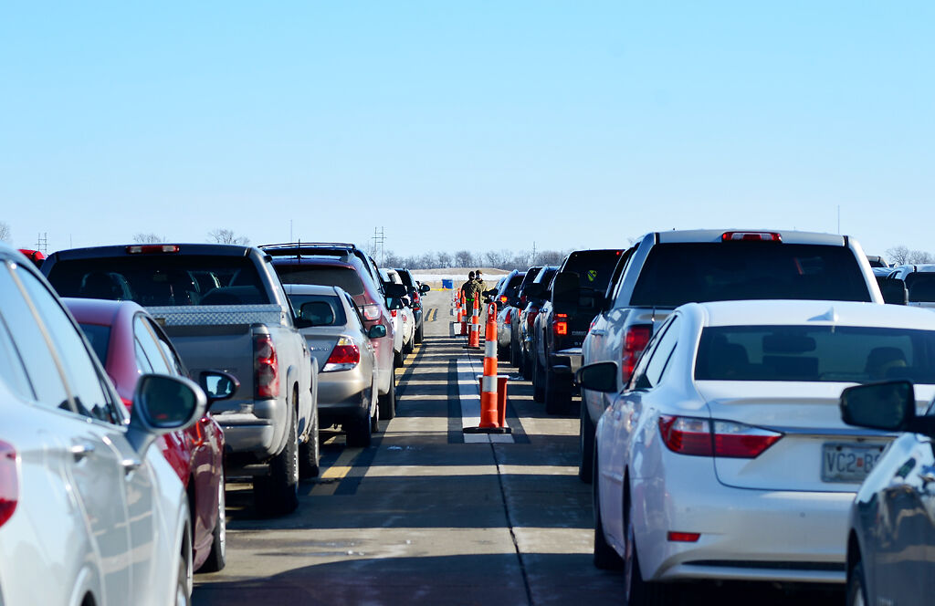 Hundreds of cars line the surrounding streets of Mexico Memorial Airport