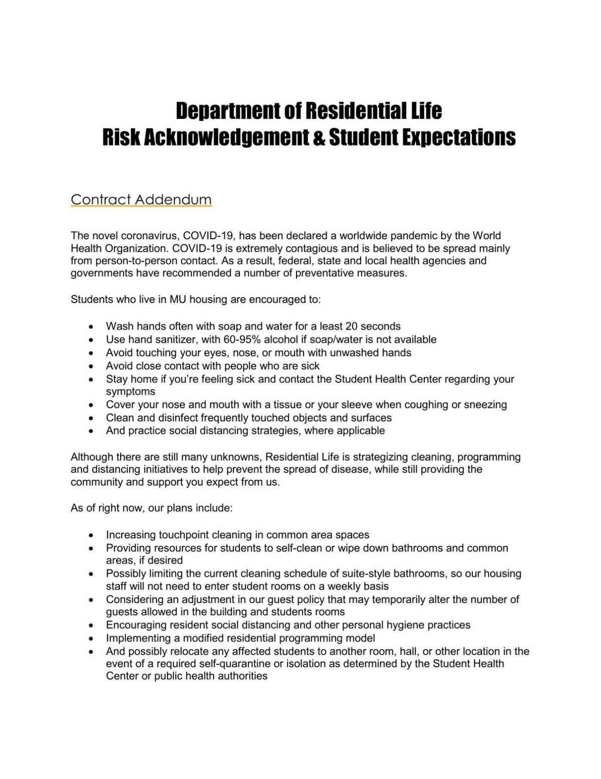 Risk acknowledgement contract