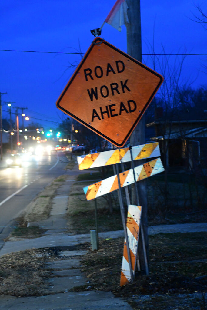 A road construction sign warns drivers to slow down due to road work on Garth Ave. on Wednesday, Dec. 2, in Columbia.