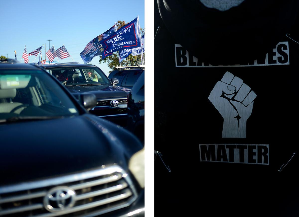 LEFT: Trump flags wave in the wind on Saturday at the Lowes' parking lot on Conley in Columbia. RIGHT: A Black Lives Matter poster is pinned