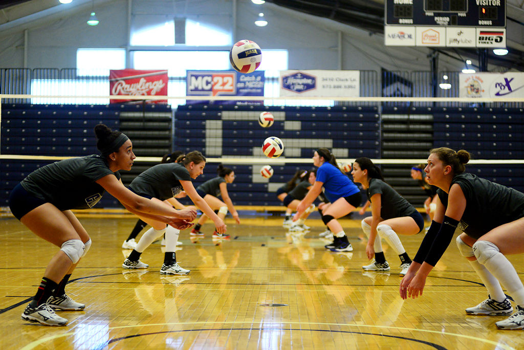 The Columbia College women's volleyball team practices bumping
