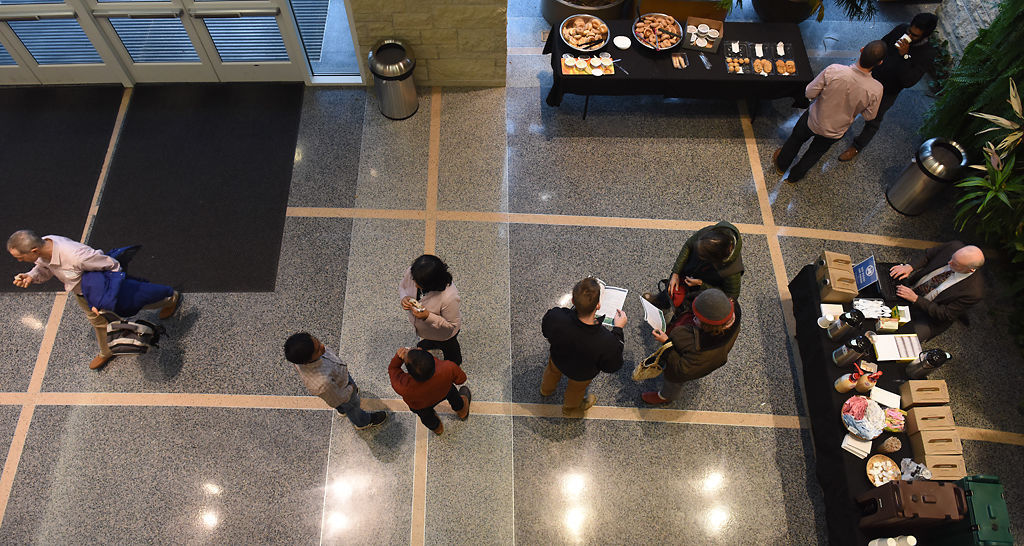 Guests mingle in Bond Life Sciences lobby