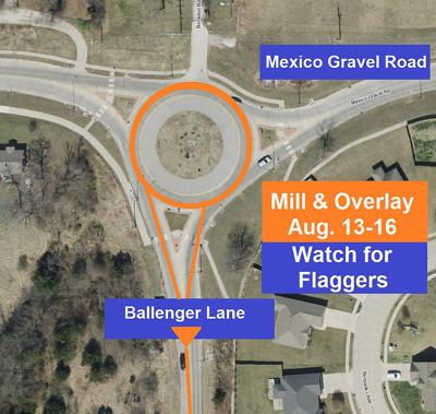 The overview map of the scheduled traffic route at the intersection of Mexico Gravel Road and Ballenger Lane