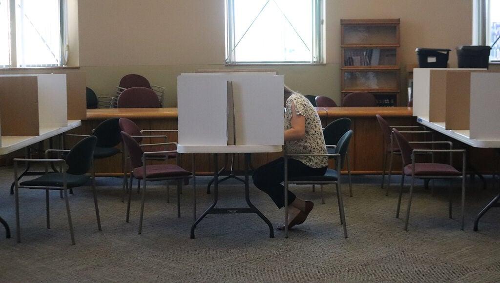 Nicki Rinehart fills out her ballot