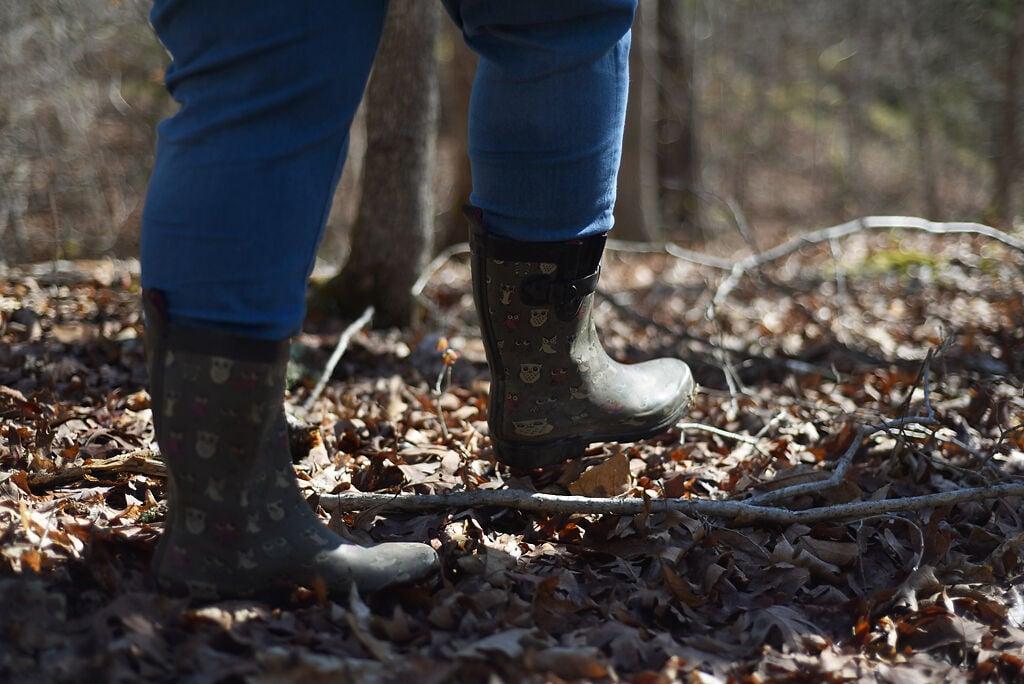 Shannon Huff walks through the woods