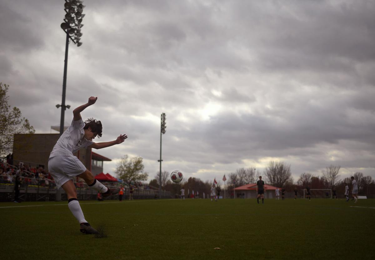 Whitfield High School defender Aiden Laubinger takes a goal kick