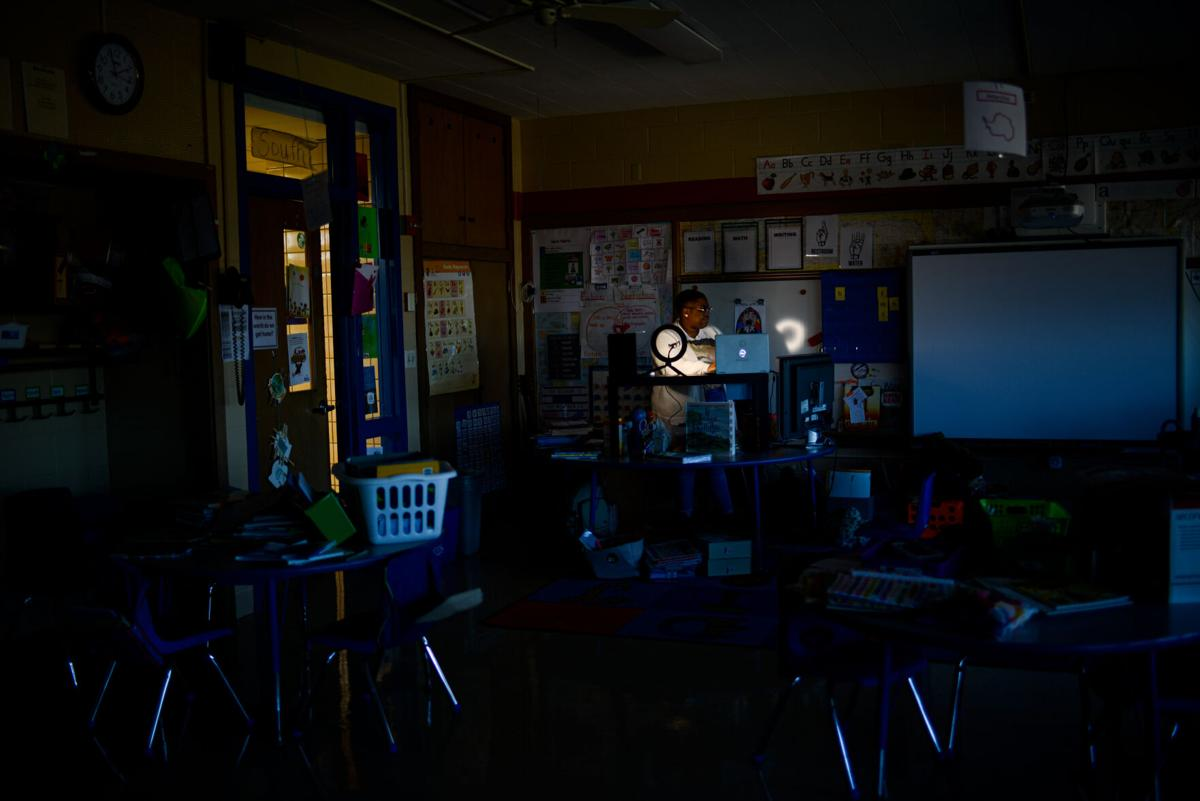 Dawnavyn James listens in on her class during a counseling session