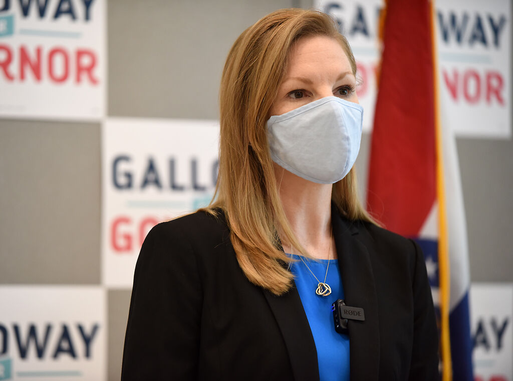 Democratic candidate for governor Nicole Galloway speaks about the current COVID-19 plan in Missouri
